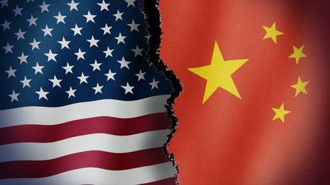 Torn United States China Flag Loop - Seamless looping animation of torn United States of America and China flag.