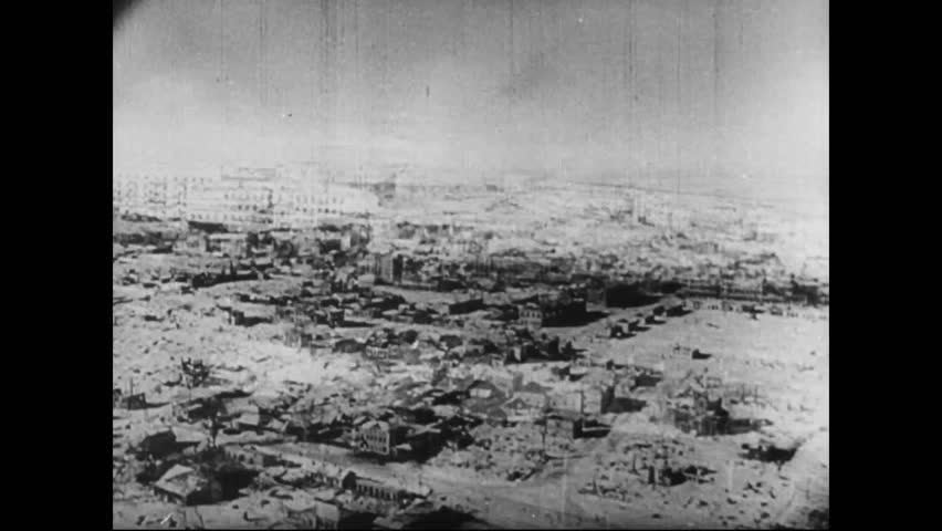 CIRCA 1942 - Snow fell on Stalingrad as the Red Army and the Nazis continued to fight, by the end of November the Russians were regaining control.