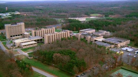 VIRGINIA - CIRCA 1990s - 1990s - Aerial over Quantico Marine army military Headquarters in Virginia.