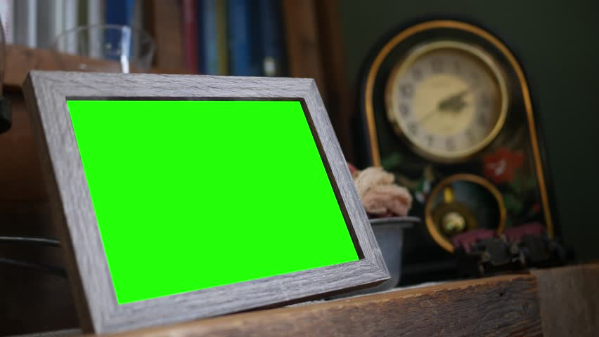 Green screen wooden rustic picture frame in living room