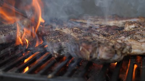 Bbq Sauce On Chicken And beef ribs On A grill outdoors ribfest Steak. Close up shot of flame grilled BBQ T Bone beef steak. Flames slowly rise through a barbeque grill and sear.