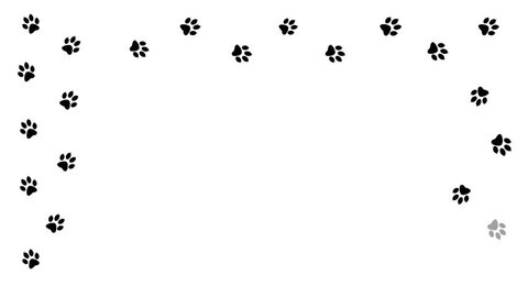 Animal paw prints by frame. Cartoon comic funny paws along the path.  Footprints walking animal on a trajectory of movement.