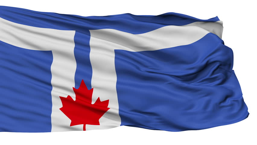 Toronto flag, city of Canada, realistic animation isolated on white seamless loop - 10 seconds long (alpha channel is included)