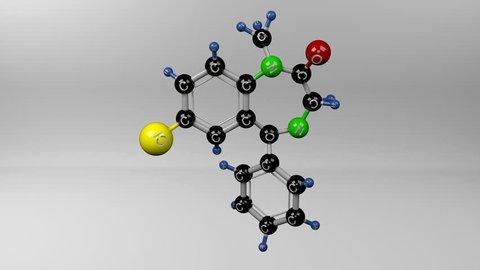 Diazepam molecule. Molecular structure of valium. Tranquilizer.