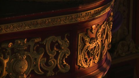 Ornamental gold red balcony patterns carnival circus style