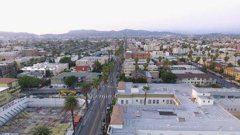 Aerial view of Koreatown in Los Angeles, California