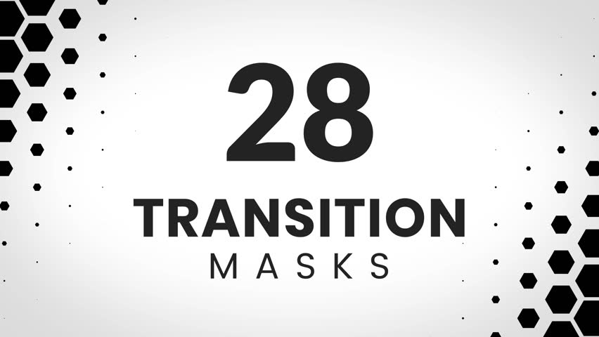 28 transition masks templates made form hexagones. Geometric hexagonal pattern for slideshow.