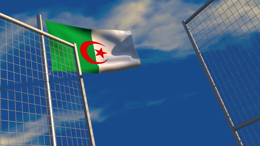 3D animation of an Algerian flag waving on a flagpole with a security gate closing and locking in the foreground; depicting barriers to trade and immigration.