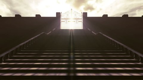 A depiction of the pearly gates of heaven opening with light emanating from the bright side contrasting with the duller foreground and a stairway leading up to it