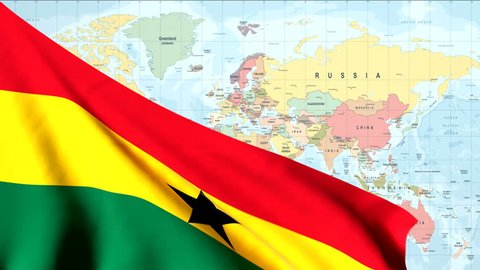 The waving flag of Ghana opens up the view to the position of Ghana on a colored world map