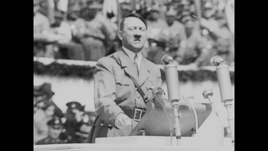 CIRCA 1943 - Adolf Hitler appeals to Germans in Czechoslovakia and internationally that they are part of the higher German race.