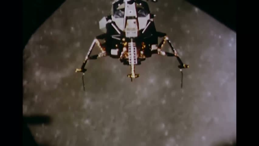 CIRCA 1969 - Apollo 11's lunar module closes in on the moon.
