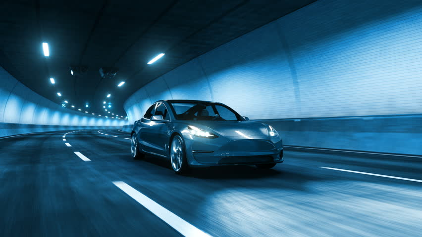 Modern Electric car rides trough tunnel with cold blue light style #1009621031