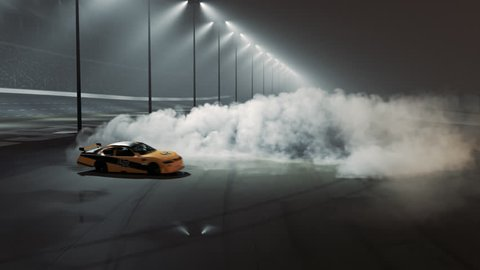 Race car burnout on race track. Thick smoke from burned tires. Victory burnout.