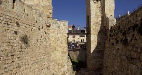 Aerial drone Israel Jerusalem David's Tomb burial place of David King of Israel. The burial place of David, King of Israel, according to a tradition beginning in the 12th century.