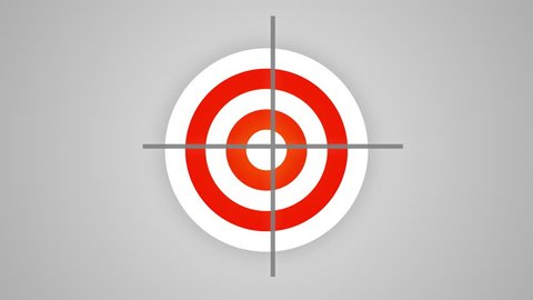 Targeting, aiming, goal setting concept. Defocused round target acquires clear features, the crosshair of rangefinder aims directly at center of target. (av51646c)