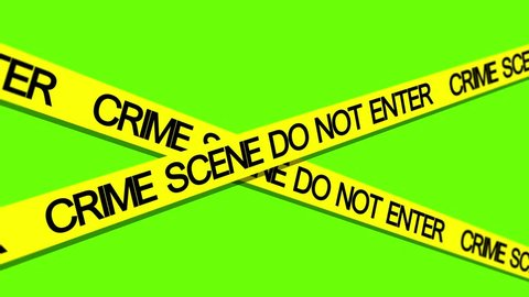 crime scene yellow tape green screen