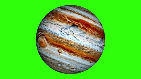 Beautiful planet of Jupiter animation. Jupiter is rotating. Milky Way galaxy's giant planet of Jupiter.