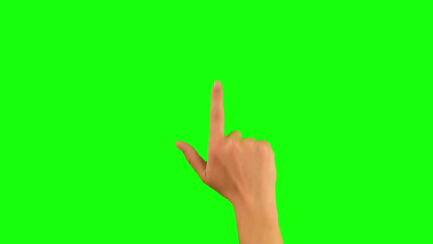 Gestures chroma key pack. 20 Gestures at green screen background. Man hand close up showing multitouch gestures for touch screen: click, zoom, vertical, horizontal slide, scrolling. 100% green screen. #1009679561