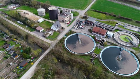 Sewage treatment plant - waste water purification, aerial view