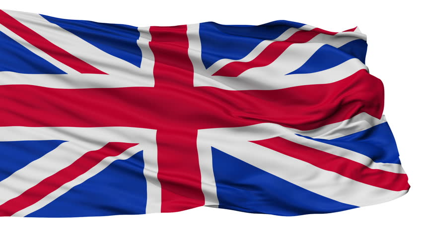 United Kingdom flag, city of UK, realistic animation isolated on white seamless loop - 10 seconds long (alpha channel is included)