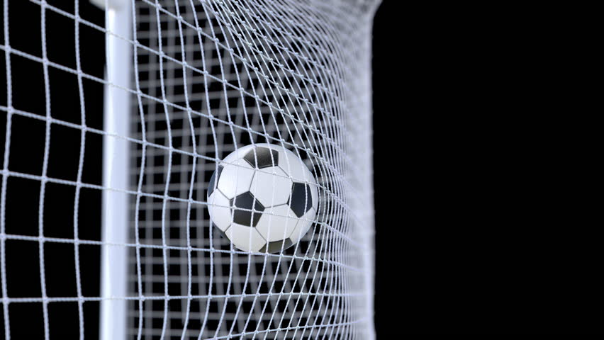Beautiful Soccer Ball flies into Goal Net in Slow Motion. Full CG shot with alpha channel. | Shutterstock HD Video #1009734101