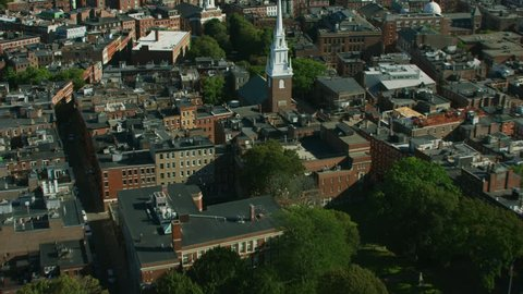 Aerial overhead view of the historic religious building of Old North Church and Tower Spire Colonial Boston Massachusetts USA