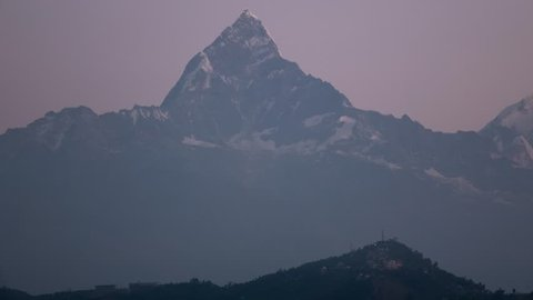 Pokhara Nepal - Himalaya Mountain - Machapuchare Fish Tail - Sunrise Time Lapse
