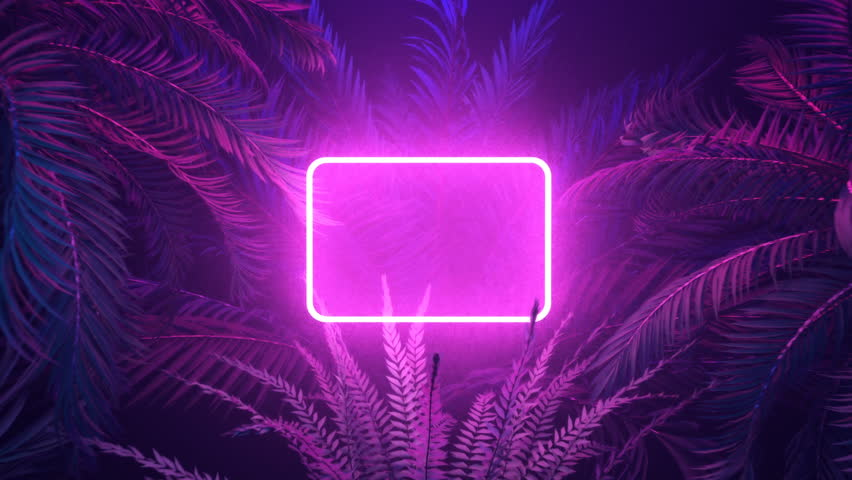 Neon glowing rectangle frame appears in the tropical forest at windy night, illuminates palm trees with trendy aesthetic violet light. 3D render animation with a space for custom text placement.