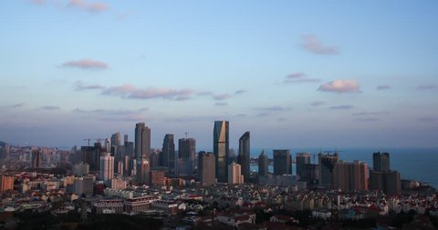 Qingdao new urban district day-to-night timelapse