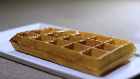 honey and chocolate drip on wafers / wafers in honey and chocolate