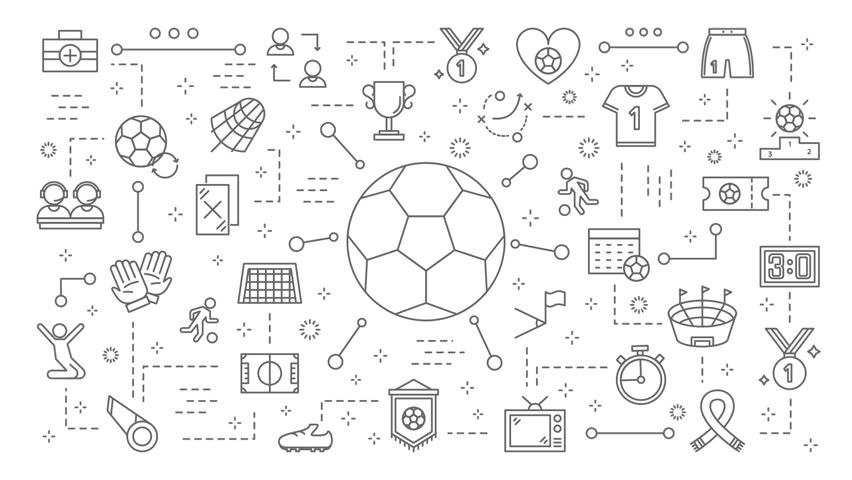 Soccer ball animation. Line flat animation of soccer or football sport with icons appearing in motion graphic.