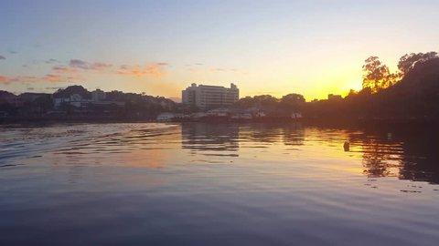 Bay in Vitoria. Camburi beachfront. Sunrise on the beach. Espirito Santo - Brazil.