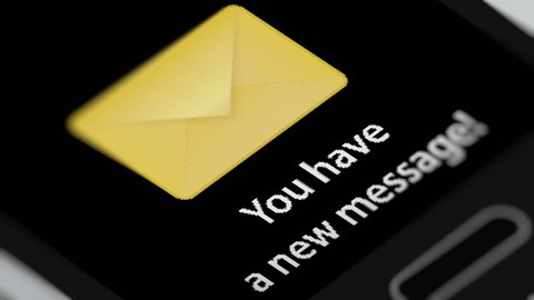 New Message Notification on Smart Phone Device. Seamless Loop