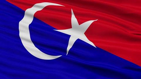 Johor Bahru Johor closeup flag, city of Malaysia, realistic animation seamless loop - 10 seconds long