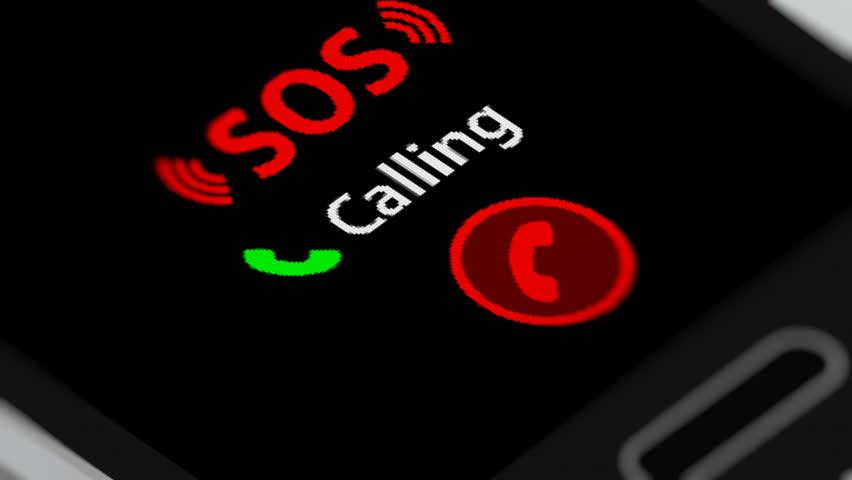 Calling SOS on smartphone. Seamless Loop.