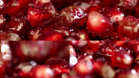 collage. Pomegranate close up. Beautiful juicy red pomegranate. Several frames on one video. Rotating fresh pomegranate seeds for food. Pomegranate