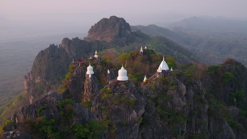 Aerial view in Wat Chalermprakiat Temple Lampang Thailand