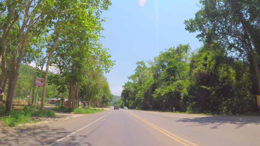 Front Driving Plate : Landscape On Route 2090 To Khao Yai National Park , Nakhon Ratchasima , Thailand