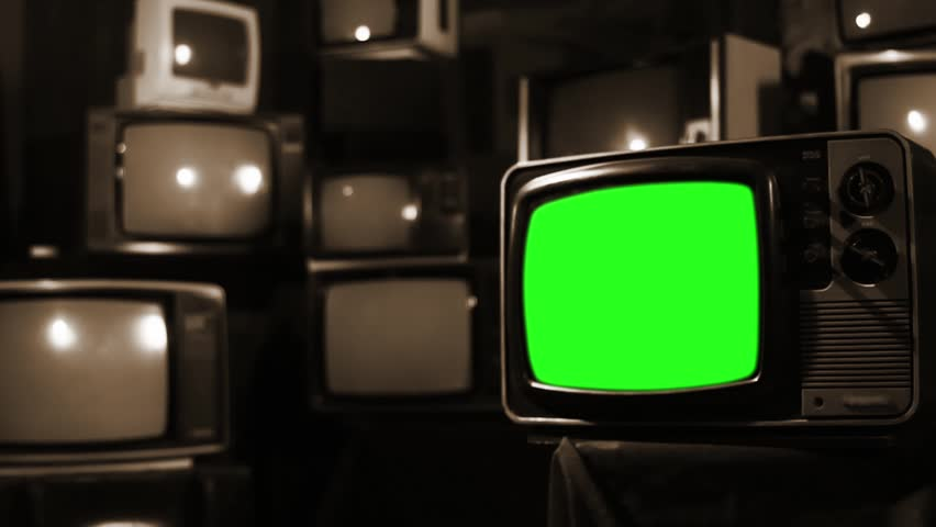 Vintage 80s Tv with Green Screen. Ready to replace green screen with any footage or picture you want. Sepia Tone. Zoom Out. | Shutterstock HD Video #1009948091