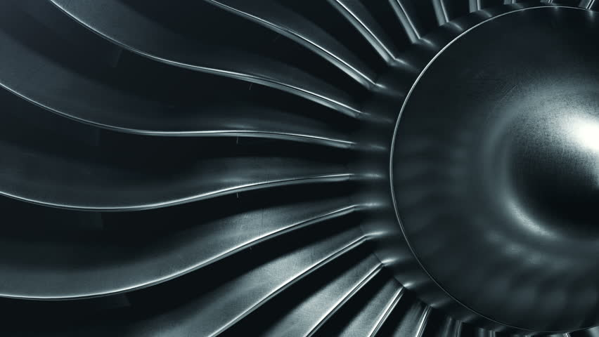 3D Rendering jet engine, close-up view jet engine blades. 4k animation | Shutterstock HD Video #1009955591
