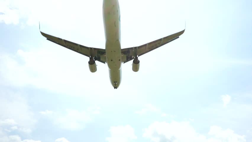 Passenger airplane on landing approach across a cloudy sky | Shutterstock HD Video #1009955951
