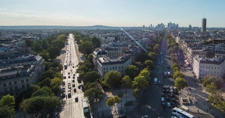 PARIS, FRANCE – SEPTEMBER 2016 : Timelapse over central Paris cityscape on a beautiful day with view of traffic and skyline | Shutterstock HD Video #1009990811