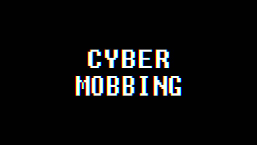 retro videogame CYBER MOBBING word text computer old tv glitch interference noise screen animation seamless loop New quality universal vintage motion dynamic animated background colorful video m #1009994471