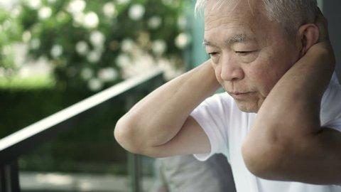 Asian senior man stress worry expression 4k