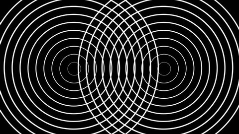Two pulsating circles form concentric white rings moving on a black background