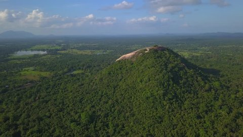 The Pidurangala rock in Sri Lanka near Sigiriya drone footage