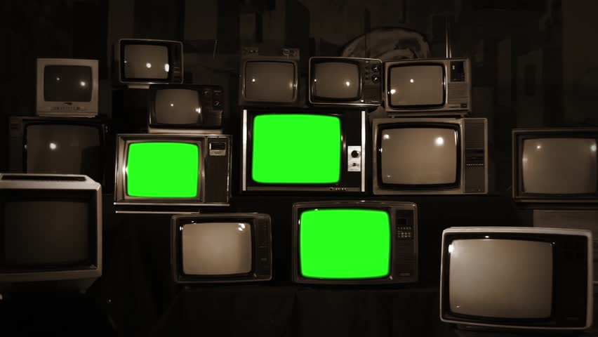 Aesthetic Televisions of the 80s with Green Screens. Sepia Tone. Zoom Out Fast. Ready to replace green screen with any footage or picture you want.  | Shutterstock HD Video #1010055371