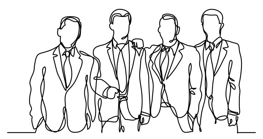 Self drawing animation of continuous line drawing of businessmen team | Shutterstock HD Video #1010061791