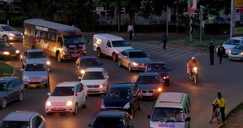 KENYA, NAIROBI - DECEMBER 2016: Traffic At Lusaka Rd & Mombasa Rd Roundabout; Nairobi Kenya Africa